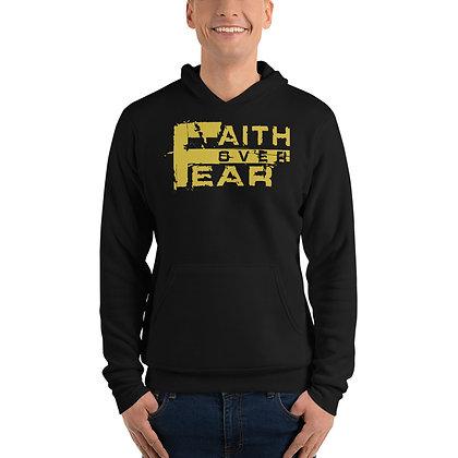 Unisex Faith Over Fear Black/Old Gold Hoodie
