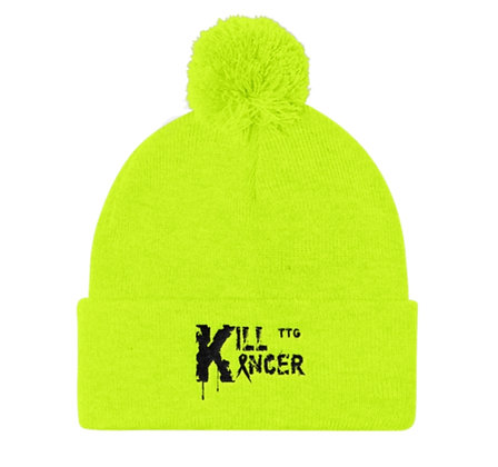 Kill Kancer Neon Yellow/black Pom Pom Knit Cap