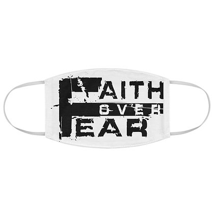 Unisex Faith Over Fear White/Black Facemask