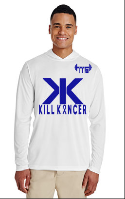 Unisex White/Royal Blue Kill Colon Cancer Hooded Jersey