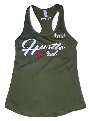 Women's Hustle Hard Military Green/White Tank Top