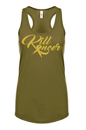 Women's Kill Childhood Kancer Military Green/Old Gold Premium Racerback Tank