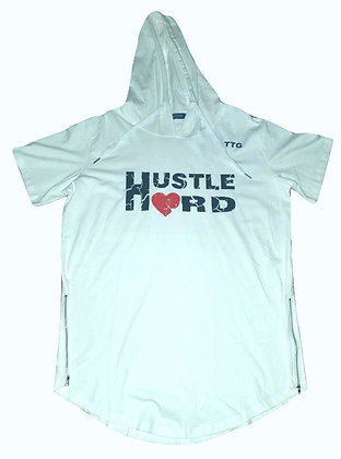 Men's Hustle Hard White/Black Short Sleeve Hoodied Shirt