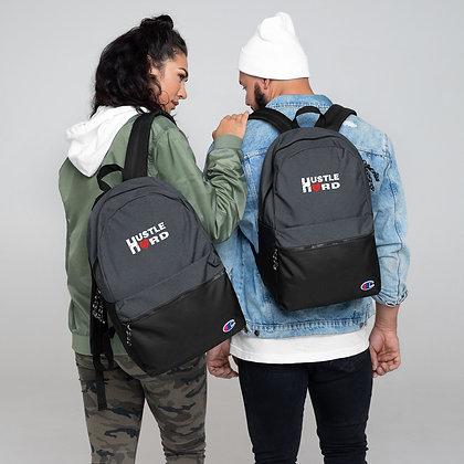 Hustle Hard Black Heather/White Embroidered Champion Backpack