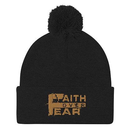 Faith Over Fear Old Gold Pom-Pom Beanie