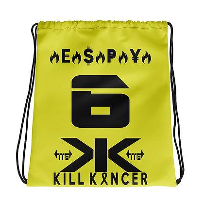 Kill Melanoma Neon Yellow/Black Jersey Drawstring Bag
