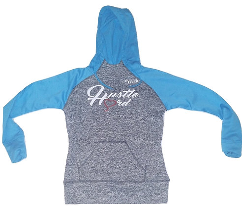 Women's Hustle Hard Charcoal Fleck/Electric Blue/White Fleece Hoodie