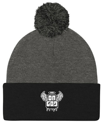 On God Grey/Black/White Pom Pom Knit Cap
