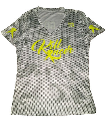 Women's White/Neon Yellow Kill All Kancer Vneck Jersey