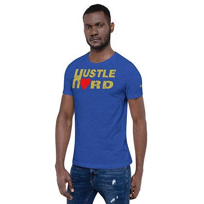 Men's Hustle Hard Royal Blue/Old Gold  Cotton Tee