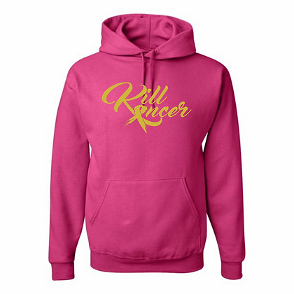 Women's Kill Kancer Cyber Pink/Old Gold Hoodie