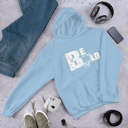 Unisex White/Light Blue Be Bold Hoodie