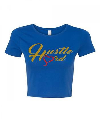 Women's Hustle Hard Royal Blue/Old Gold Crop Tee