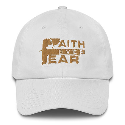 Faith Over Fear White/Old Gold Made in America Dad Hat