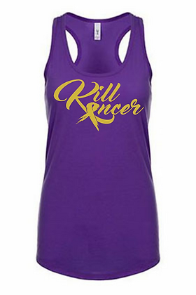 Women's Kill Childhood Kancer Purple/Old Gold Premium Racerback Tank