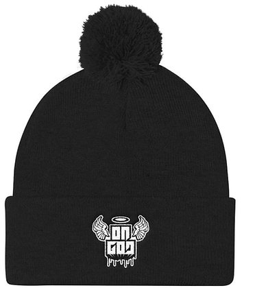 On God Black/White Pom Pom Knit Cap