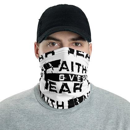 Men's White/Black Faith Over Fear Neck Gaiter