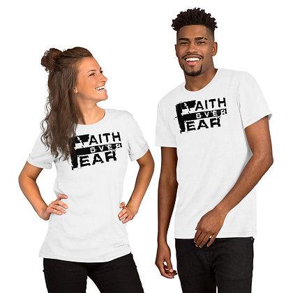 Unisex White/Black Faith Over Fear Cotton Tee