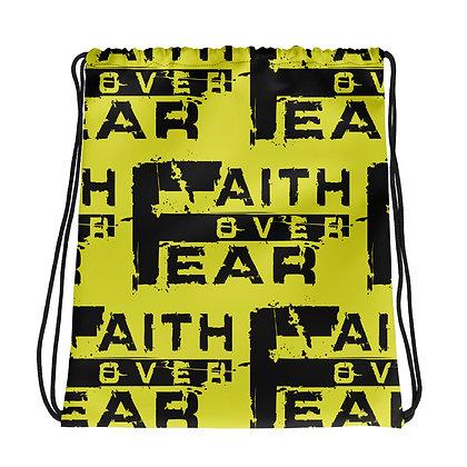 Faith Over Fear Neon Yellow/Black Drawstring Bag