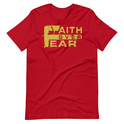 Unisex Red/Old Gold Faith Over Fear Cotton Tee