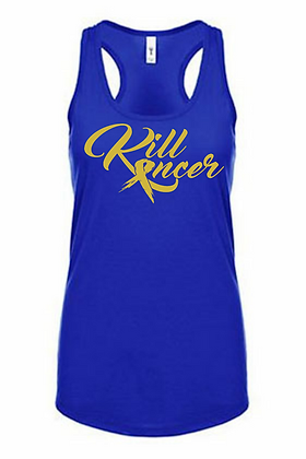 Women's Kill Childhood Kancer Royal Blue/Old Gold Premium Racerback Tank
