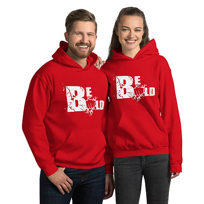 Unisex White/Red Be Bold Hoodie