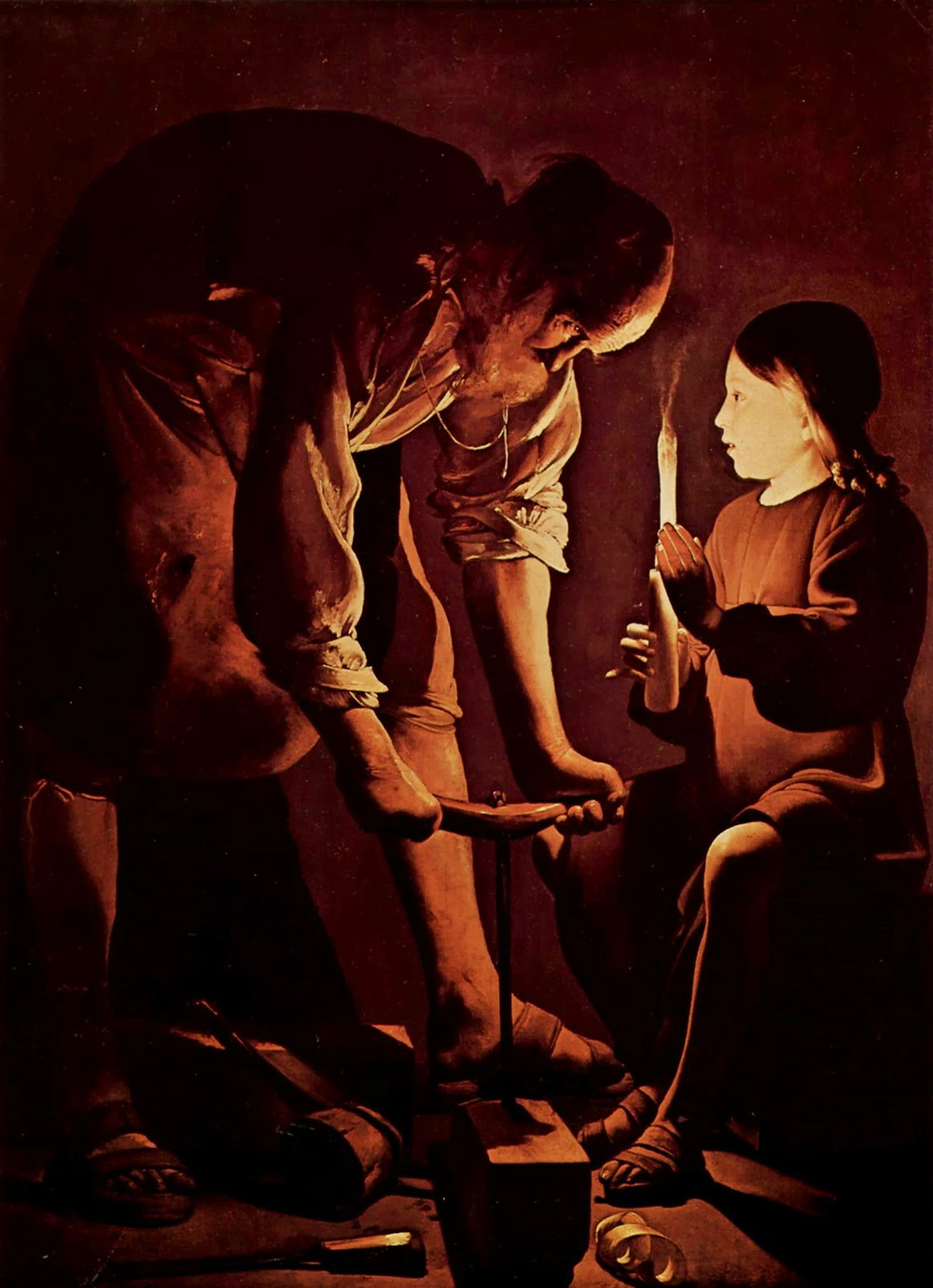 The child Jesus with Joseph in his carpentry workshop