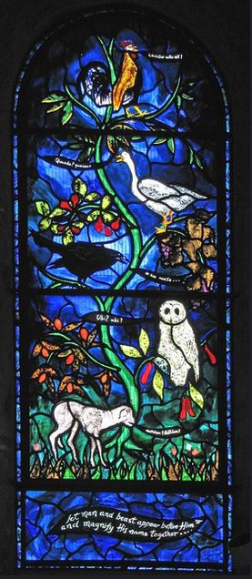 Stained glass window showing five animals sharing the news of the nativity of Jesus