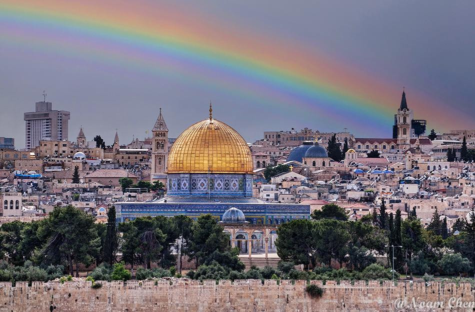 photo of a rainbow over the Old City of Jerusalem