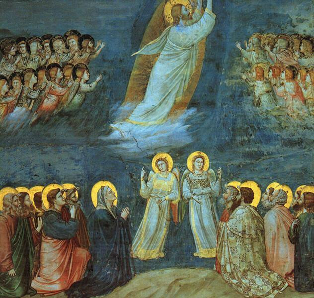 Giotto's painting shows Jesus ascending into heaven