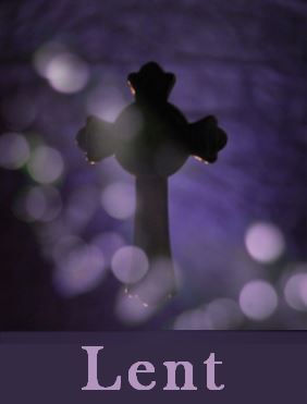 A cross on a purple background