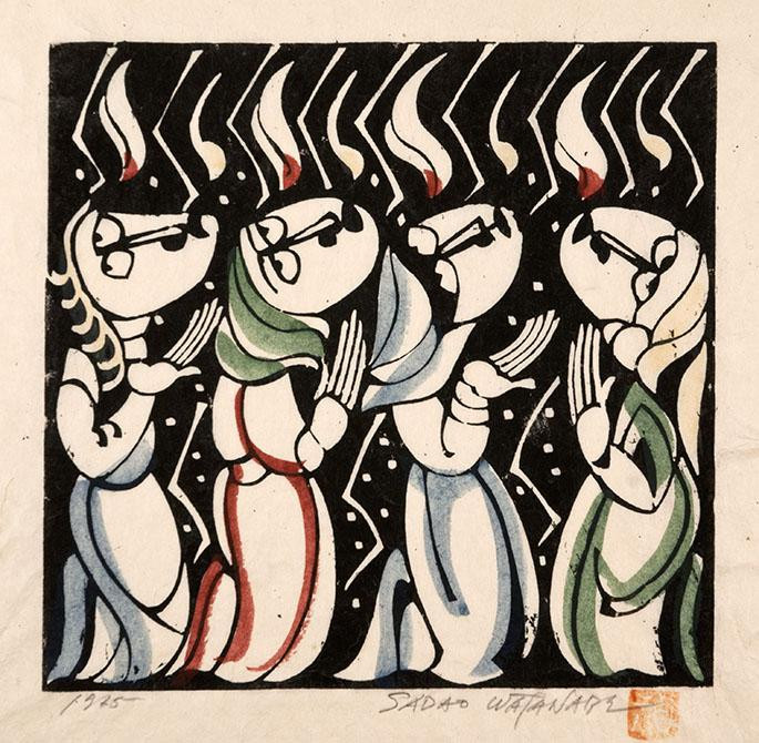 Sadeo Watanabe's painting of Pentecost shows the disciples in prayer as the Holy Spirit descends