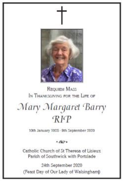 Order of Service - Requiem Mass for Mary Barry RIP