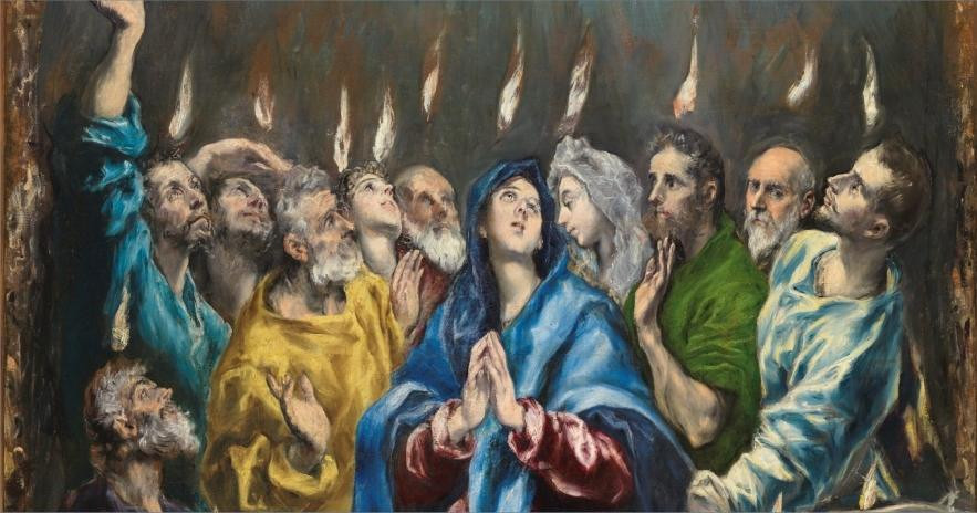 A detail from El Greco's painting of Pentecost shows Mary and the apostles gazing upwards as tongues of fire descend.