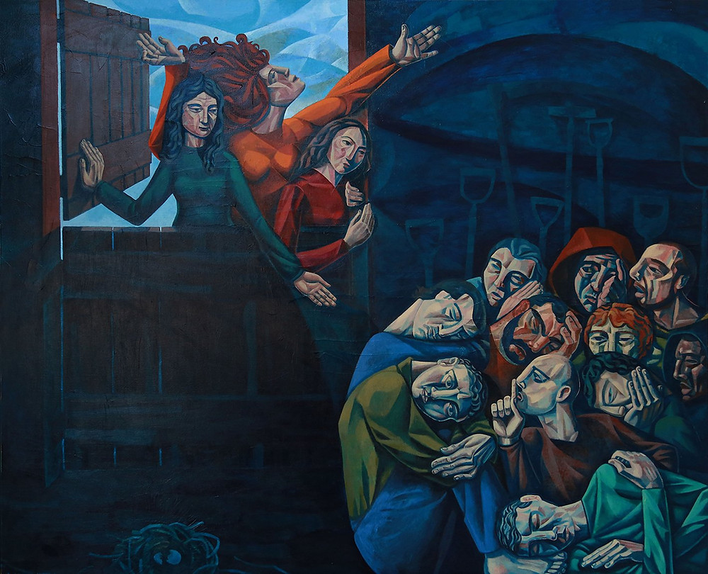 The apostles disbelieving the women who tell them Jesus is reisen