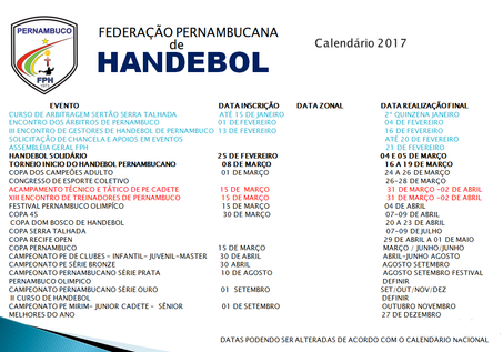 HANDEBOL PERNAMBUCANO CALENDÁRIO 2017