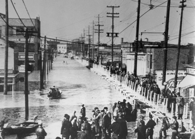 1937 Flood pontoon bridge Louisville KY