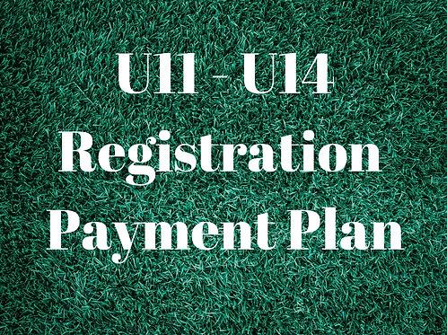U11 - U14 Payment Plan
