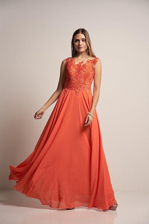 Vestido longo chiffon modelo importado 03 cores