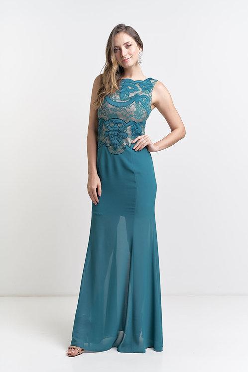 Vestido Longo Modelo Importado Saia com Leve Transparência 02 cores