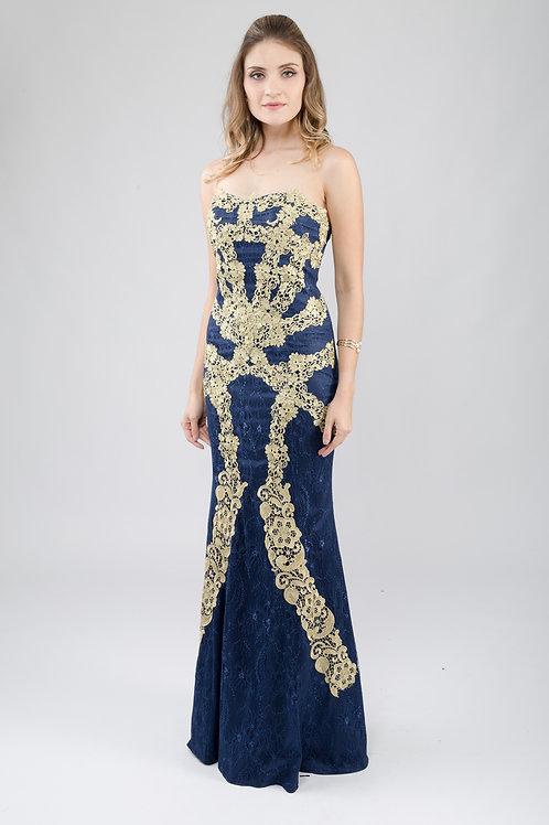 Vestido longo importado detalhe renda 03 cores