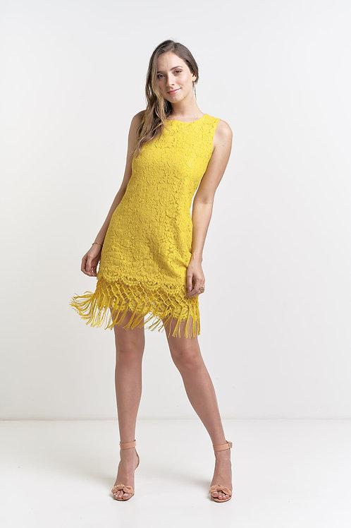 Vestido curto modelo importado renda com franja na saia 03 cores