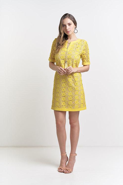 Vestido curto modelo importado renda com cordão 03 cores