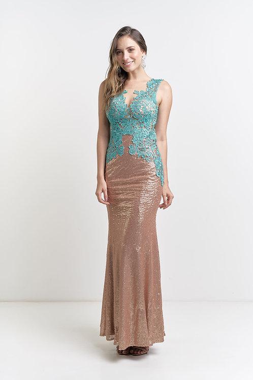 Vestido longo importado paetê com renda 04 cores