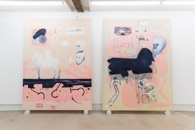 Longing, 2016, pastel, watercolor, oil and acrylic on canvas, 250x180 cm left_Be Weight off Shoulders, pastel, watercolor, oil and acrylic on canvas, 250x180 cm