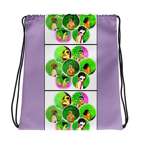 Full Moon Maidens BOHO Chic Drawstring bag Purple neon Green Pink