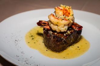 8oz Steak with shrimp scampi