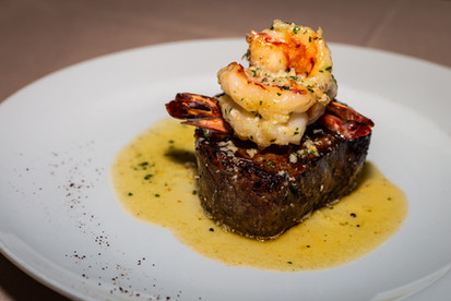 8oz Steak with shrimp scampi