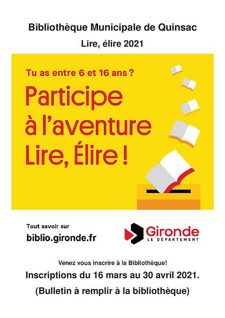 Inscriptions Bibliothèque Lire, élire 20