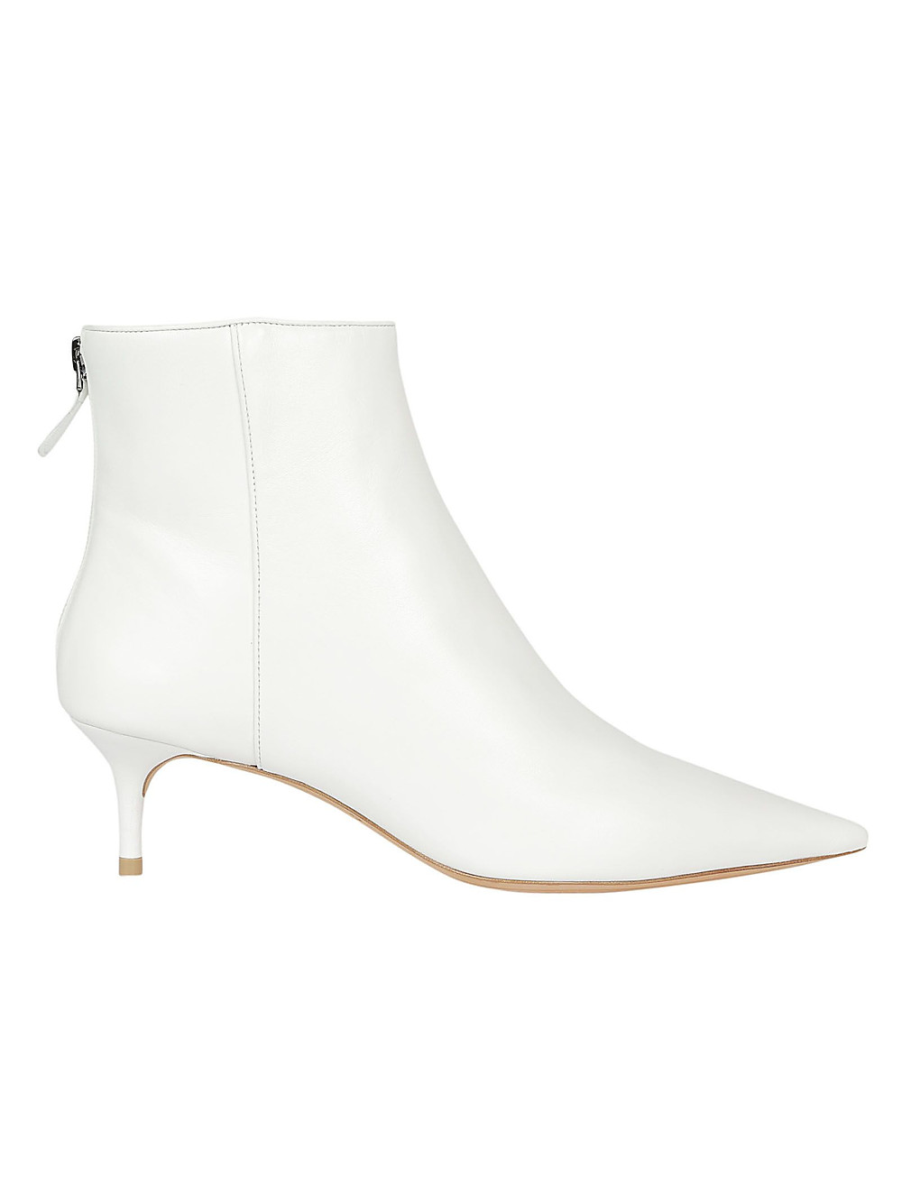 Alexandre Birman White Point Toe Kitten Heel Bootie